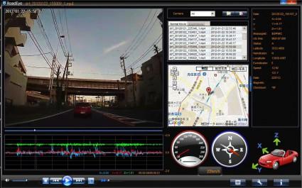 ドライブレコーダー CJ-DR300キャストレード 管理画面と夜の走行映像